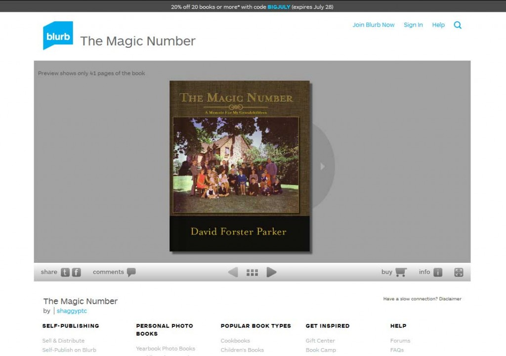 PTC-Clients-Screenshots-The Magic Number, a memoir by Dr. David Forster Parker
